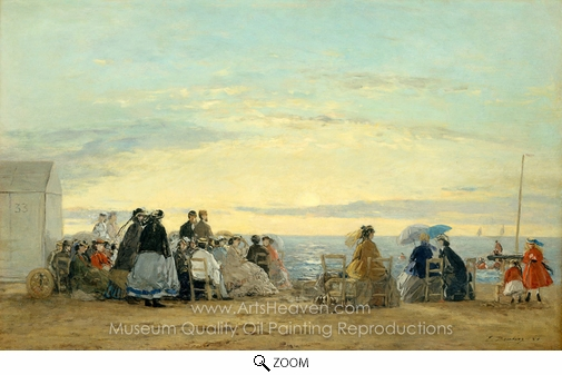 Eugene-Louis Boudin, On the Beach, Sunset oil painting reproduction