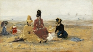 On the Beach, Trouville painting reproduction, Eugene-Louis Boudin