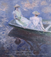 On the Boat painting reproduction, Claude Monet