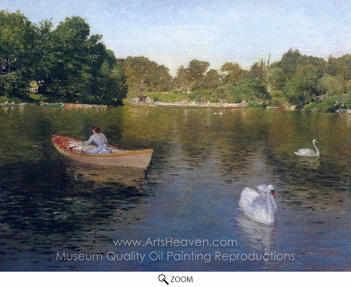 William Merritt Chase, On the Lake, Central Park oil painting reproduction