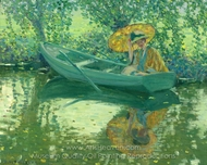 On the River painting reproduction, Frederick Carl Frieseke