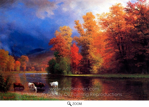 Albert Bierstadt, On the Saco oil painting reproduction