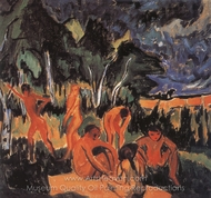 Open Air (Bathers in Moritsburg) painting reproduction, Max Pechstein