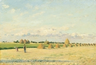 Open Fields with Haystacks Near Pontoise painting reproduction, Camille Pissarro