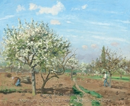 Orchard in Bloom, Louveciennes painting reproduction, Camille Pissarro