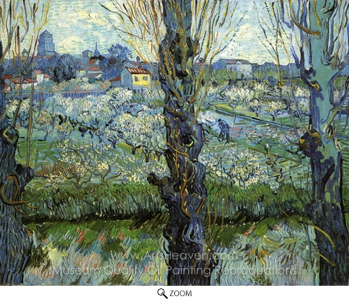 Vincent Van Gogh, Orchard in Bloom with Poplars oil painting reproduction