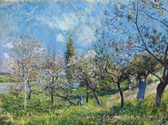 Orchard in Spring painting reproduction, Alfred Sisley