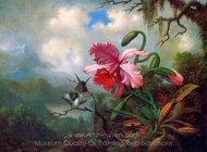 Orchid and Hummingbirds Near a Mountain Lake painting reproduction, Martin Johnson Heade
