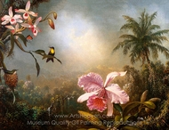 Orchids, Nesting Hummingbirds and a Butterfly painting reproduction, Martin Johnson Heade