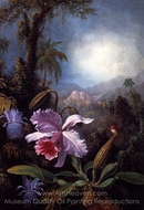 Orchids, Passion Flowers and Hummingbird painting reproduction, Martin Johnson Heade