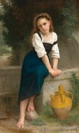 Orphan by the Fountain painting reproduction, William A. Bouguereau