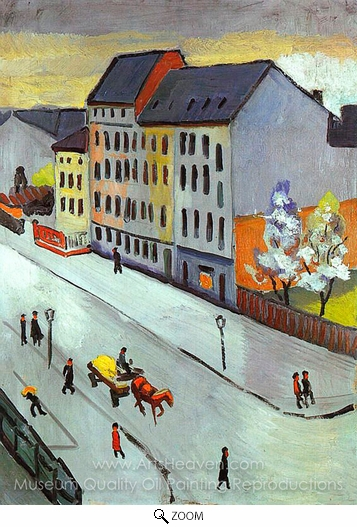 August Macke, Our Street in Gray oil painting reproduction