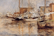 Oyster Boats North River painting reproduction, John Henri Twachtman
