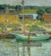 Oyster Sloop, Cos Cob painting reproduction, Childe Hassam