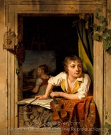 Painting and Music (Portrait of the Artist's Son) painting reproduction, Martin Drolling