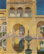 Palace of Carlos V, Alcazar de Sevilla painting reproduction, Joaquin Sorolla