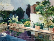 Palace of Pond, Royal Gardens in Seville painting reproduction, Joaquin Sorolla