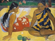 Parau Api. What News painting reproduction, Paul Gauguin