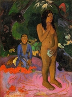 Parau na te Varua Ino (Words of the Devil) painting reproduction, Paul Gauguin
