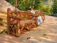 Park Bench painting reproduction, William Merritt Chase