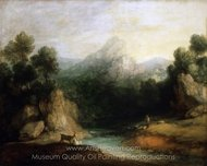 Pastoral Landscape (Rocky Mountain Valley with a Shepherd, Sheep, and Goats) painting reproduction, Thomas Gainsborough
