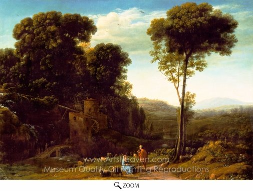Claude Lorraine, Pastoral Landscape with a Mill oil painting reproduction