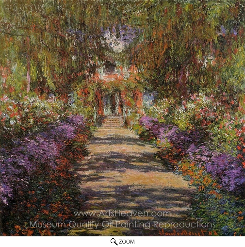 Claude Monet, Pathway in Monet's Garden at Giverny oil painting reproduction