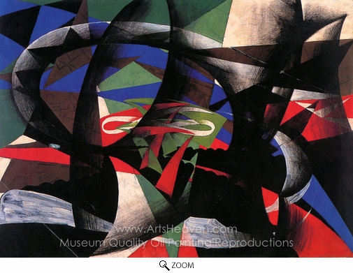 Giacomo Balla, Patriotic Demonstration oil painting reproduction