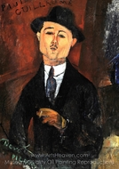 Paul Guillaume, Novo Pilota painting reproduction, Amedeo Modigliani