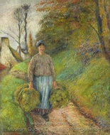 Peasant Carrying Two Bales of Hay painting reproduction, Camille Pissarro