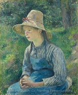 Peasant Girl with a Straw Hat painting reproduction, Camille Pissarro