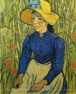Peasant Girl with Yellow Straw Hat painting reproduction, Vincent Van Gogh