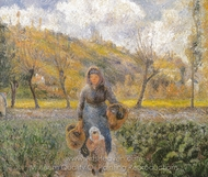 Peasant Woman and Child, Eragny painting reproduction, Camille Pissarro