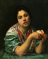 Peasant Woman Peeling an Orange painting reproduction, Mary Cassatt