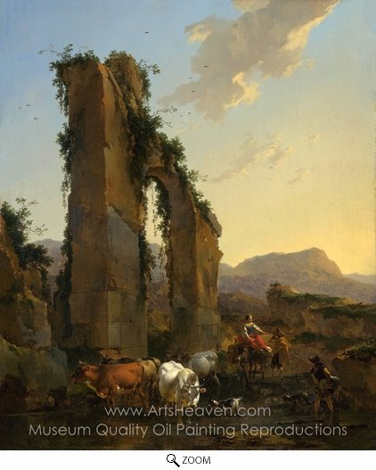 Nicolaes Berchem, Peasants by a Ruined Aqueduct oil painting reproduction