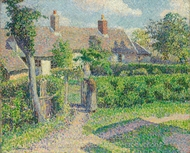 Peasants' Houses, Eragny painting reproduction, Camille Pissarro