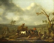 Peasants Loading a Hay Cart painting reproduction, Johannes Lingelbach