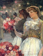 Peonies painting reproduction, Childe Hassam