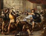 Perseus Turning Phineas and His Followers to Stone painting reproduction, Luca Giordano