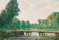 Petit Pont Sur L'Orvanne painting reproduction, Alfred Sisley