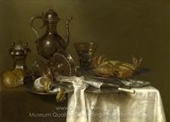 Pewter and Silver Vessels and a Crab painting reproduction, Willem Claesz. Heda