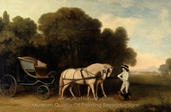 Phaeton with a Pair of Cream Ponies and a Stable-Lad painting reproduction, George Stubbs