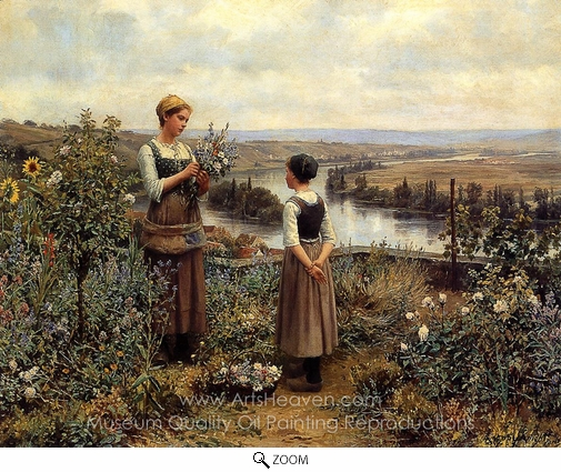 Daniel Ridgway Knight, Picking Flowers oil painting reproduction