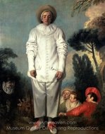 Pierrot or Gilles painting reproduction, Jean Antoine Watteau