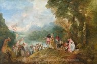 Pilgrimage on the Isle of Cythera painting reproduction, Jean Antoine Watteau