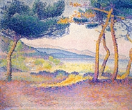 Pines Along the Shore painting reproduction, Henri Edmond Cross