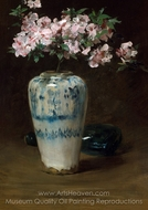 Pink Azalea, Chinese Vase painting reproduction, William Merritt Chase