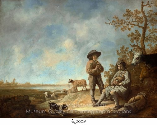 Aelbert Cuyp, Piping Shepherds oil painting reproduction