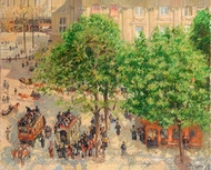 Place du Theatre Francais, Paris, Rain painting reproduction, Camille Pissarro