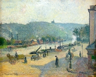 Place Lafayette, Rouen painting reproduction, Camille Pissarro
